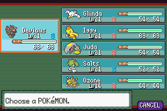 Pokemon Burning Ruby - Menus Pokemon Team - Most of my team is comprised of females. XD - User Screenshot