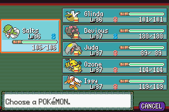 Pokemon Burning Ruby - Menus Pokemon Team - My team after the 6th badge, - User Screenshot