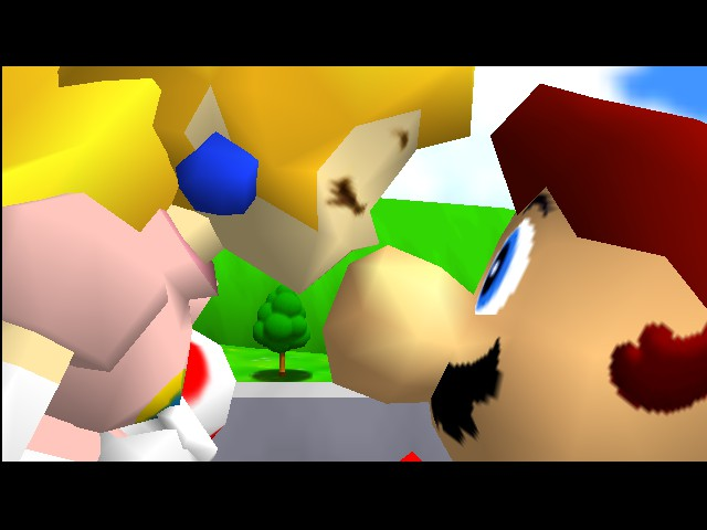 Super Mario 64 - Ending  - A kiss on the nose for the hero...romantic.* - User Screenshot