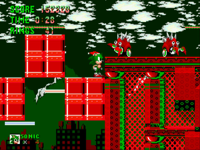 Sonic the Hedgehog - Christmas Edition - Level spring yard zone - Christmas Yard Zone - User Screenshot