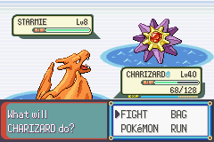 Pokemon Rebirth - Battle  - Level 8 Starmie on Route 126? - User Screenshot