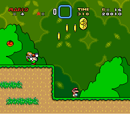 Super Mario World - Level Yoshi\ - A boooring screenshot, that I can