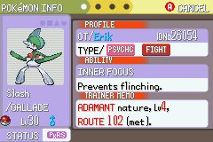 Pokemon Burning Ruby - Misc  - Gallade ftw! - User Screenshot