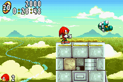 Sonic Advance - Level Angel Island Zone - Knuckles and a Wamu - User Screenshot
