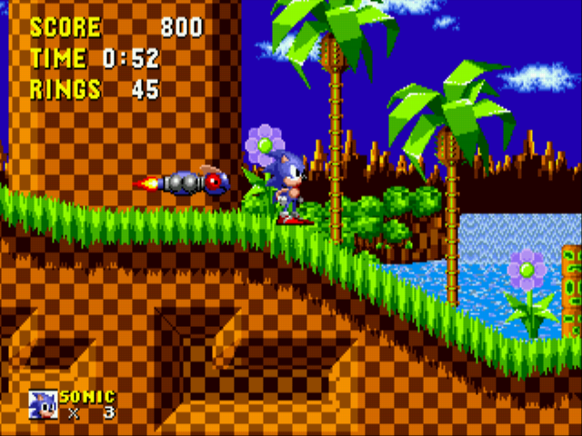 Newtron -Level Green Hill Zone:Sonic and a Newtron - User Screenshot