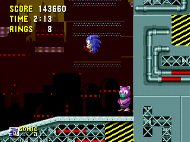 Ball Hog -Level Scrap Brain Zone:Sonic and a Ball Hog - User Screenshot