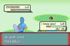 Pokemon Emerald - Battle  - ah yeah, caught zigzagoon! - User Screenshot