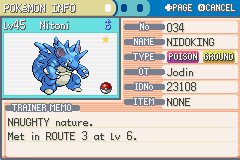 Pokemon Ultra Violet - Character Profile pokemon - Shiny Nidoking still looks like Nidoqueen xD - User Screenshot