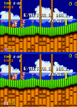 Amy Rose in Sonic the Hedgehog 2 - Misc Vs Mode - Emerald Hill Act 1 in VS Mode - User Screenshot