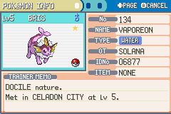 Pokemon Ultra Violet - Character Profile  - Nickname means rainwater in Latin. - User Screenshot