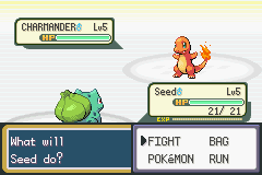 Pokemon Fire Red - Battle  - my first Pokemon battle with my rival   - User Screenshot