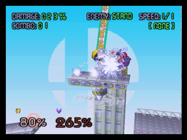 Super Smash Bros. - Battle  - Ness used PSI Rockin b. 265 Damage to Hippie - User Screenshot