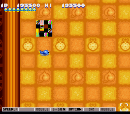 Gokujou Parodius - Misc Glitch - Weird glitchy block. - User Screenshot