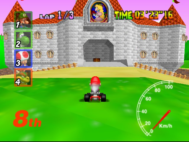 Mario Kart 64 - Level Royal Raceway - Mario Is Payin A Visit To The Old SM64 Castle - User Screenshot
