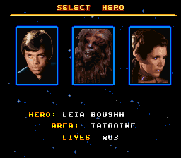 Super Star Wars - Return of the Jedi - Character Select  - Yay, I can finally play Leia! - User Screenshot