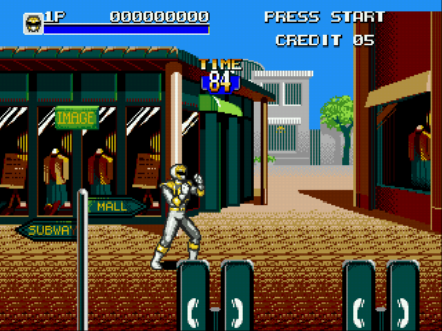 Mighty Morphin Power Rangers - The Movie - Level Stage 1 - Stage 1: White ranger gameplay - User Screenshot