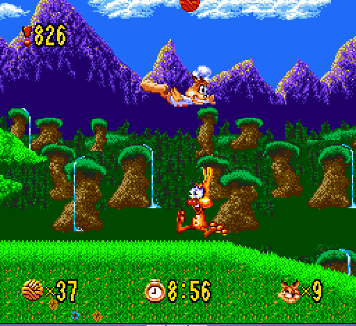 Bubsy - Watch out below!!!!  - User Screenshot