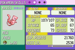 Pokemon Emerald - Character Profile Mew - Muhahahaha - User Screenshot