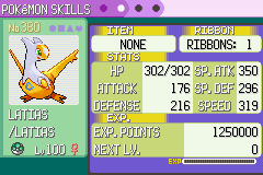 Pokemon Emerald - Character Profile Latias - Shiny - User Screenshot