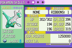 Pokemon Emerald - Character Profile Latios - Shiny - User Screenshot