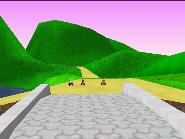 Mario Kart 64 - if you look good  you can see a next  bowser - User Screenshot