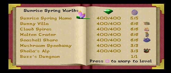 spyro year of the dragon level warp code