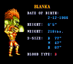 Blanka Street Fighter Video Game Character Profile Vizzed