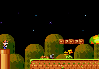 Super Mario 4 - Space Odyssey - Level  - Out of the tunnel - a bomb oO - User Screenshot