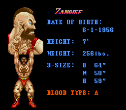 Super Street Fighter II - The New Challengers - Character Profile  - Zangief - User Screenshot