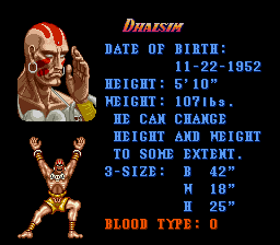 Super Street Fighter II - The New Challengers - Character Profile  - Dhalsim - User Screenshot