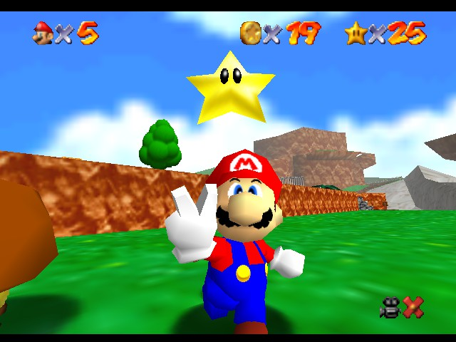 Super Mario 64 - Level Beat Level 1 - Got a Star, the 25th/or 26th Star :D - User Screenshot