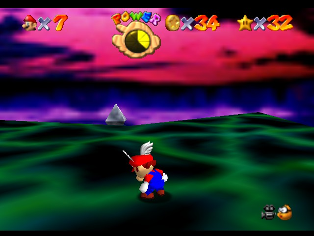 Super Mario 64 - Level Bowser In the Dark World - Wait, why do I have a flying cap? - User Screenshot