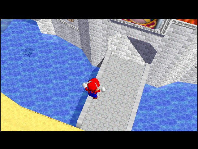 Super Mario 64 - Cut-Scene  - And, Mario is going to fall now... ouch. - User Screenshot