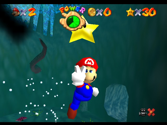 Super Mario 64 - Level Jolly Roger Bay - Yay, I got a Star... Underwater... - User Screenshot