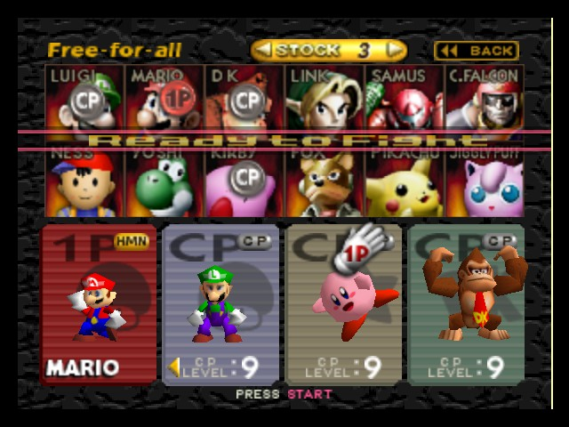 Super Smash Bros. - Character Select  - The level Select - User Screenshot