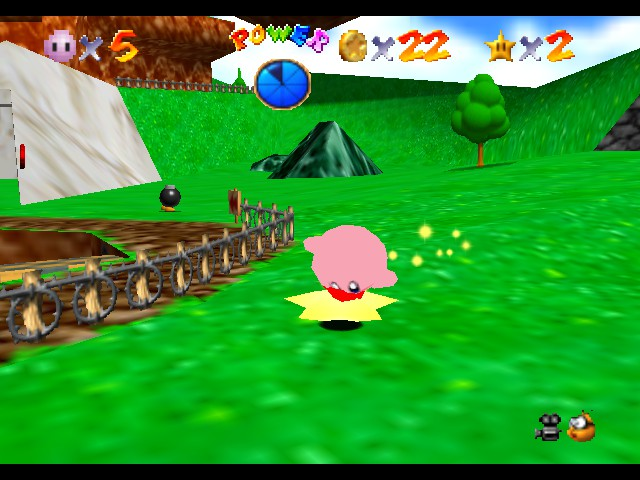 Super Mario 64 - Kirby Edition - Level Bob-Omb Battlefield - Ridin ma warpstar - User Screenshot