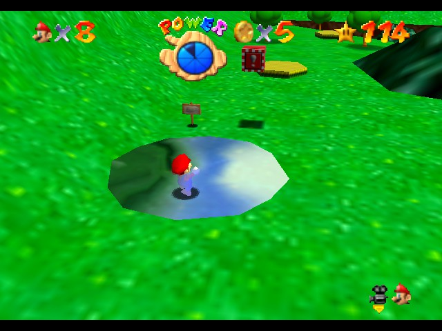 Super Mario 64 - Level Bob-omb Battlefield - This looks like a water balloon exploded  - User Screenshot