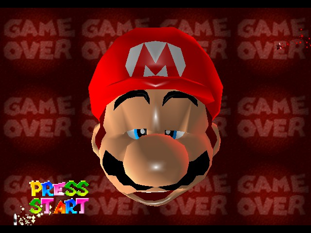Super Mario 64 - Introduction  - Game Over.Mario Died after 4x died in a Level - User Screenshot