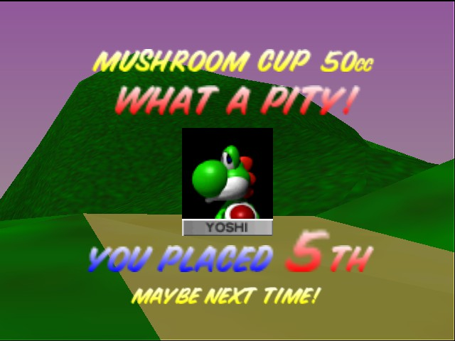 Mario Kart 64 - Level Toad\ - unlocked the secret ending...poor yoshi - User Screenshot