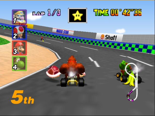 Mario Kart 64 - Level Luigi Raceway - me and yoshi - User Screenshot
