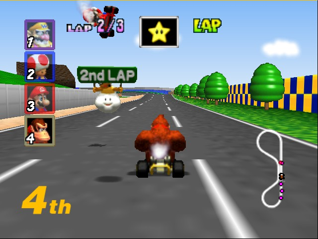 Mario Kart 64 - Level Luigi Raceway - mario got fliped over - User Screenshot