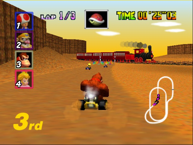 Mario Kart 64 - Level Kalimari Desert - steam engine - User Screenshot