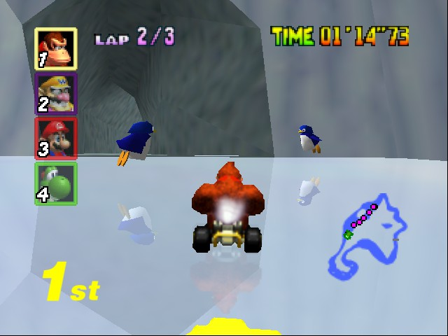 Mario Kart 64 - Level Sherbert Land - penguins on ice - User Screenshot