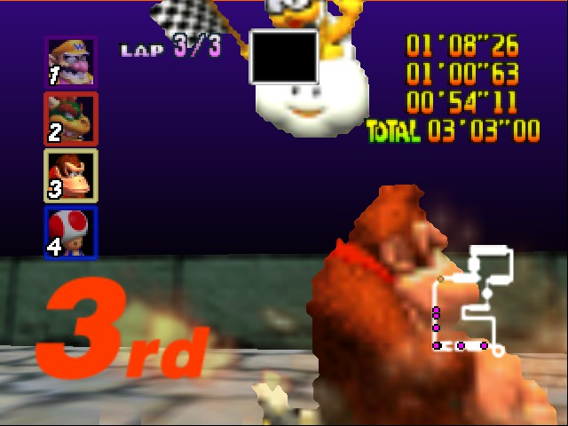 Mario Kart 64 - Level Bowser castle - donkey kong up close - User Screenshot
