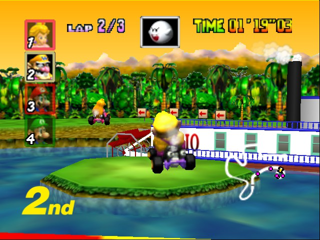 Mario Kart 64 - Level DK Jungle Parkway - mario got a boat - User Screenshot