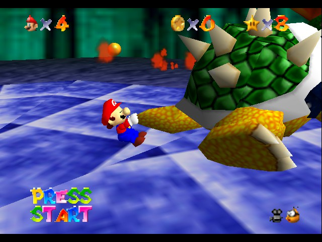 Super Mario 64 - Level bowser in lava land - grab by the tail  - User Screenshot