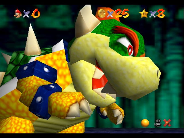Super Mario 64 - Level bowser in lava land - bowser in 64 bit graphic!! - User Screenshot