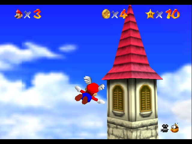Super Mario 64 - Level Beat Level 1 - flying through the sky - User Screenshot