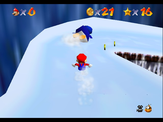 Super Mario 64 - Level Cool, Cool Mountain - hey. stop trying to push me off - User Screenshot