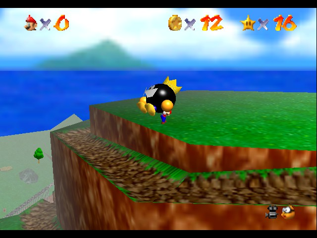 Super Mario 64 - Level Bob-omb Battlefield - time to throw you off - User Screenshot
